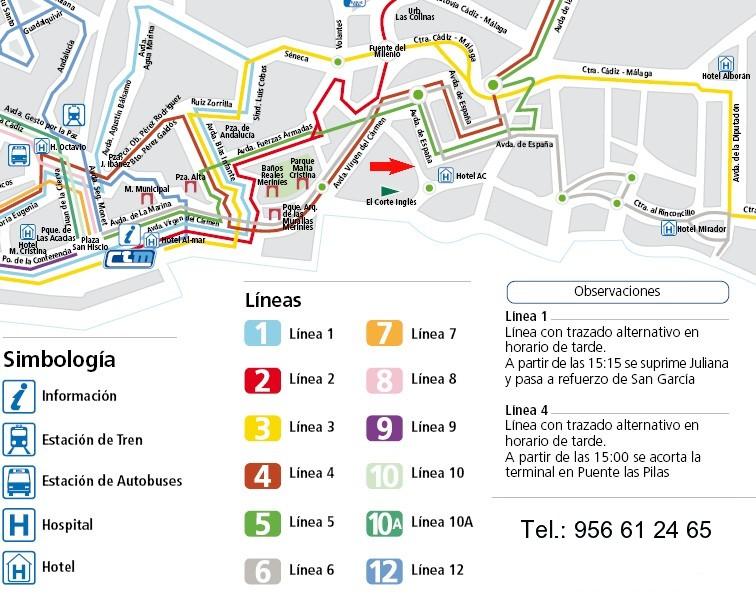 Plano de autobuses para llegar a nuestra clínica